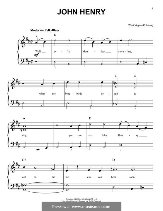 John Henry: For piano by folklore