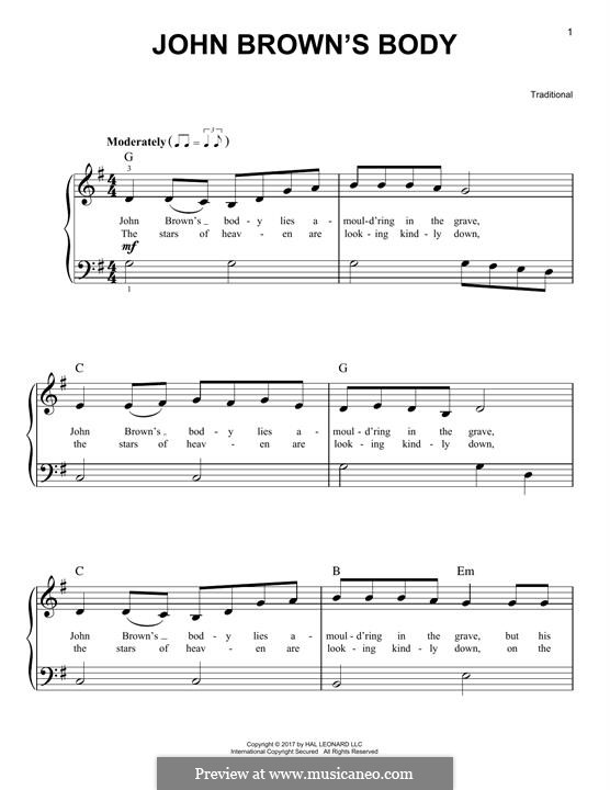 John Brown's Body: For piano by folklore