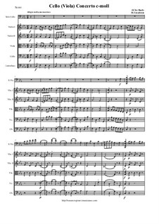 Cello (Viola) concerto c-moll: Score and all parts by Johann Christian Bach