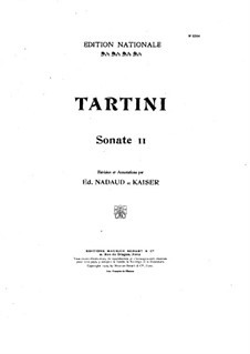 Twelve Sonatas and Pastorales for Violin and Harpsichord, Op.1: Sonata No.11. Version for violin and piano by Giuseppe Tartini