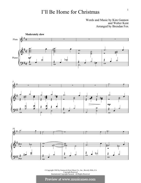 I'll Be Home for Christmas: For flute and piano by Kim Gannon, Walter Kent