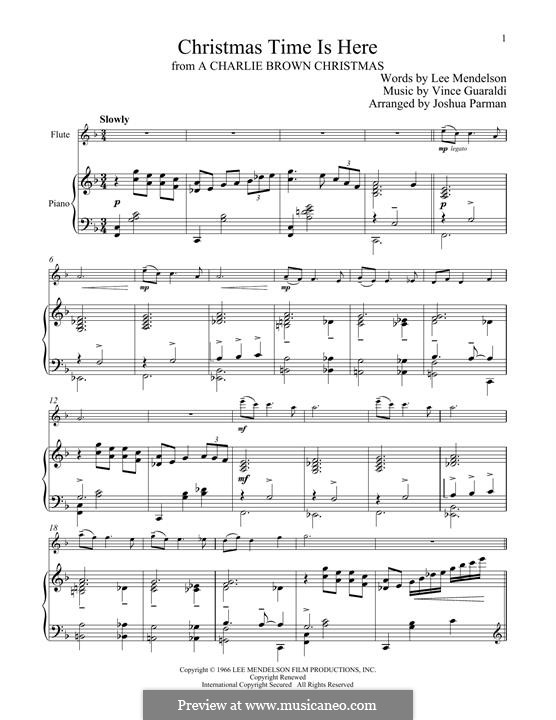 Christmas Time is Here: For flute and piano by Vince Guaraldi