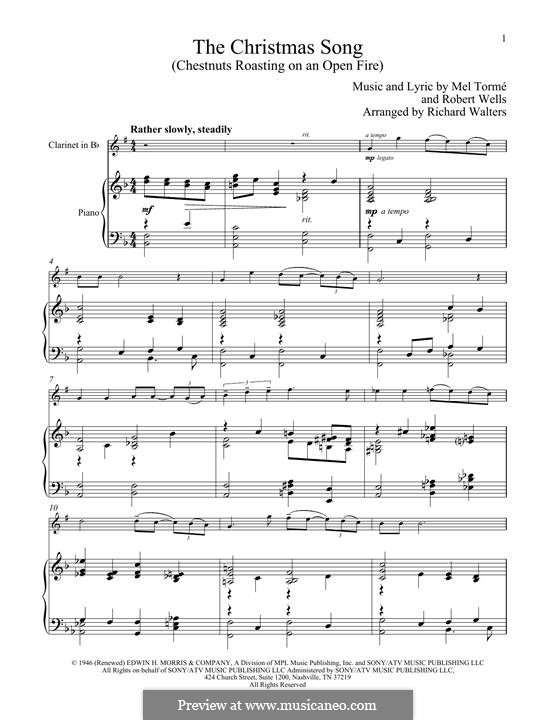 The Christmas Song (Chestnuts Roasting on an Open Fire): For clarinet and piano by Mel Tormé, Robert Wells