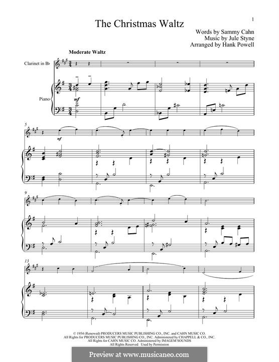 The Christmas Waltz: For clarinet and piano by Jule Styne