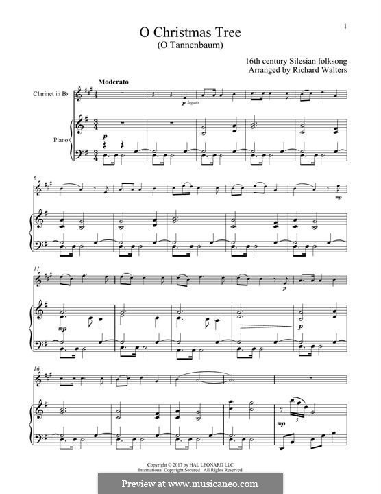 O Christmas Tree, (Printable Scores): For clarinet and piano by folklore