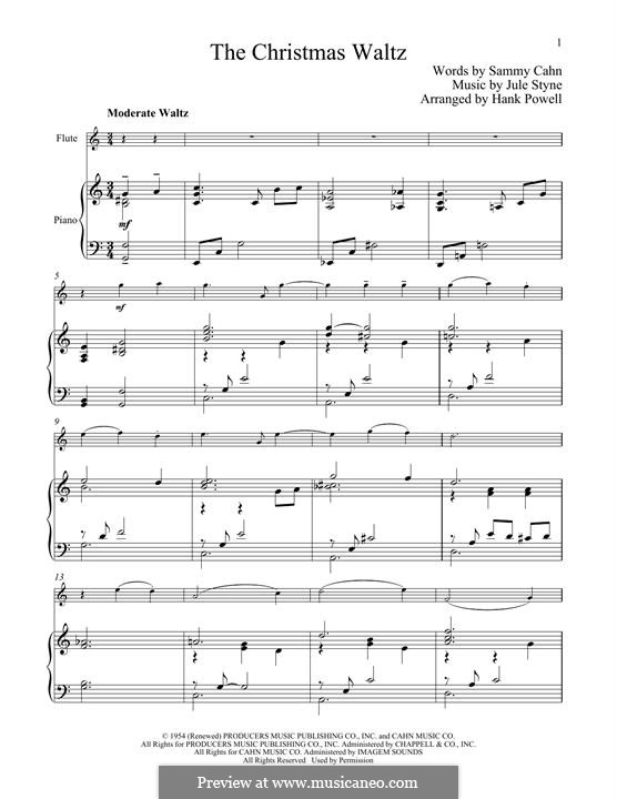 The Christmas Waltz: For flute and piano by Jule Styne