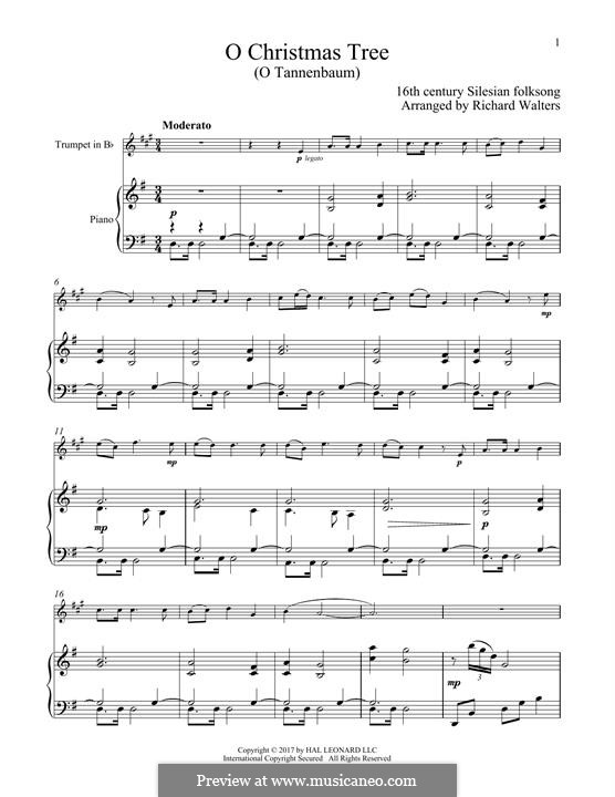 O Christmas Tree, (Printable Scores): For trumpet and piano by folklore