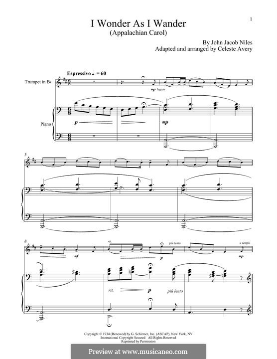 I Wonder as I Wander: For trumpet and piano by John Jacob Niles