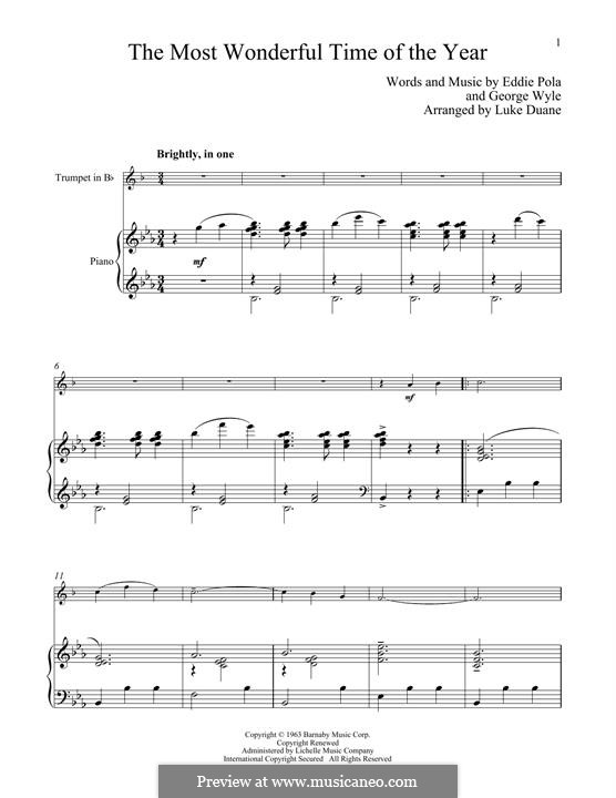 The Most Wonderful Time of the Year: For trumpet and piano by George Wyle, Edward Pola