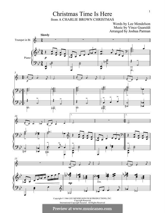 Christmas Time is Here: For trumpet and piano by Vince Guaraldi