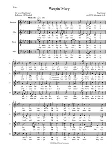 Weepin' Mary: For SATB choir (with split basses at the end) F minor by folklore