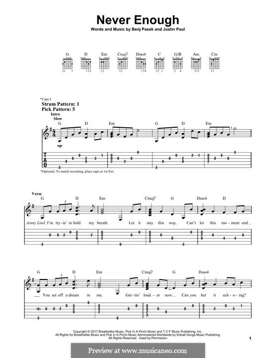 Never Enough (from The Greatest Showman): For guitar with tab by Justin Paul, Benj Pasek