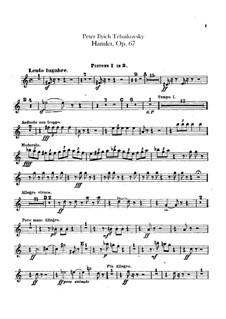 Hamlet. Overture-Fantasia, TH 53 Op.67: Cornets parts by Pyotr Tchaikovsky