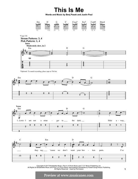 This is Me: For guitar with tab by Justin Paul, Benj Pasek