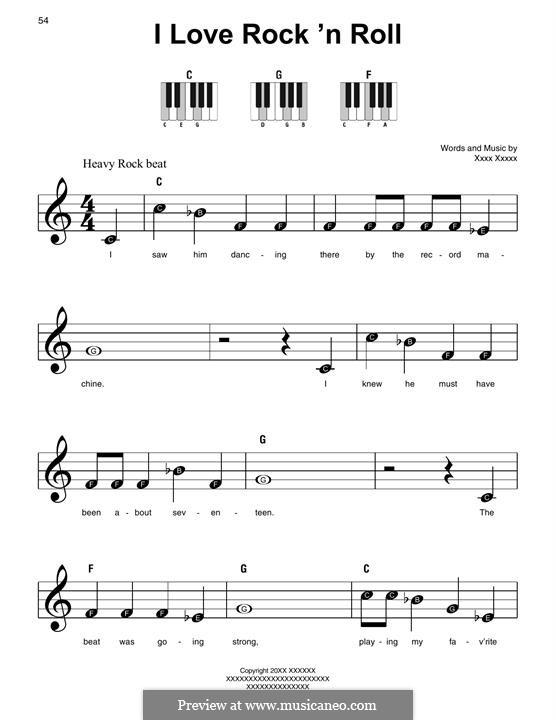 I Love Rock 'n Roll: For piano by Alan Merrill, Jake Hooker