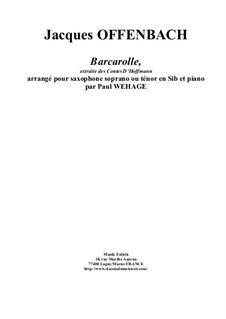 Barcarole: Version for Bb soprano or tenor saxophone and piano by Jacques Offenbach