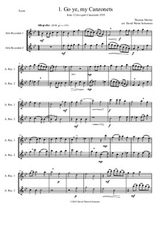 12 easy Canzonets: For alto recorder duo by Thomas Morley