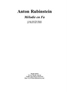 Two Melodies, Op.3: Melody No.1, for two pedal harps by Anton Rubinstein