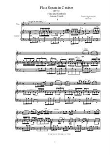 Sonata for Flute and Cembalo (or Piano) in C minor, RV 53b: Sonata for Flute and Cembalo (or Piano) in C minor by Antonio Vivaldi