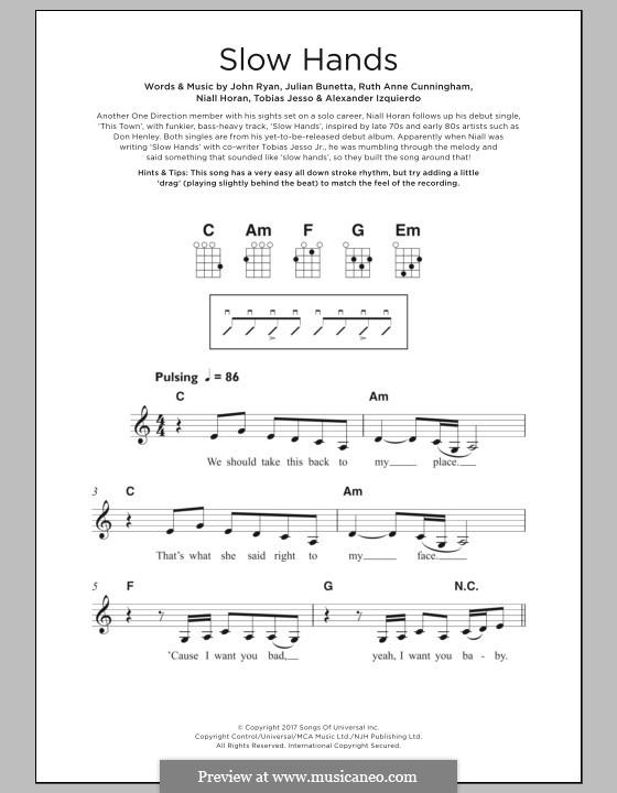 Slow Hands: For ukulele by Julian Bunetta, Ruth Anne Cunningham, Niall Horan, John Henry Ryan, Tobias Jesso, Alexander Izquierdo