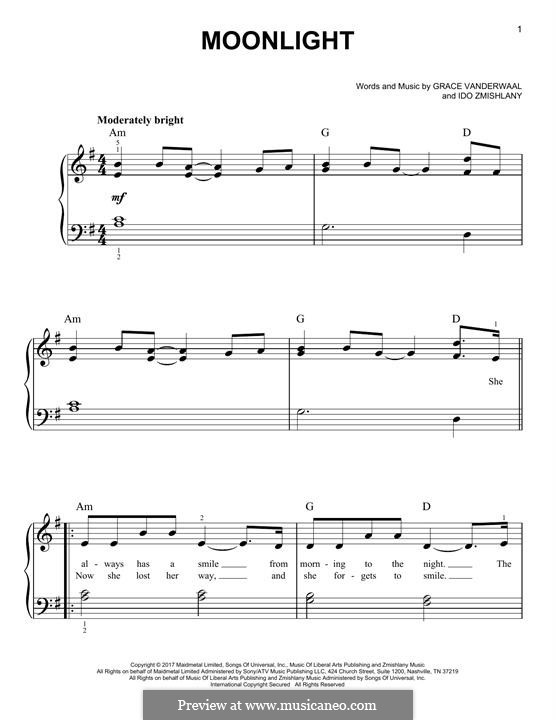 Moonlight: For piano by Ido Zmishlany, Grace VanderWaal