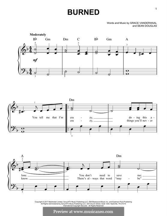 Burned: For piano by Sean Douglas, Grace VanderWaal