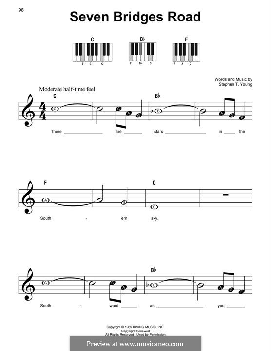 Seven Bridges Road (The Eagles): For piano by Stephen T. Young