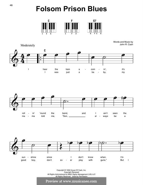 Folsom Prison Blues: For piano by Johnny Cash