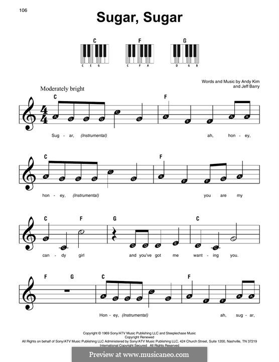 Sugar, Sugar (The Archies): For piano by Andy Kim, Jeff Barry