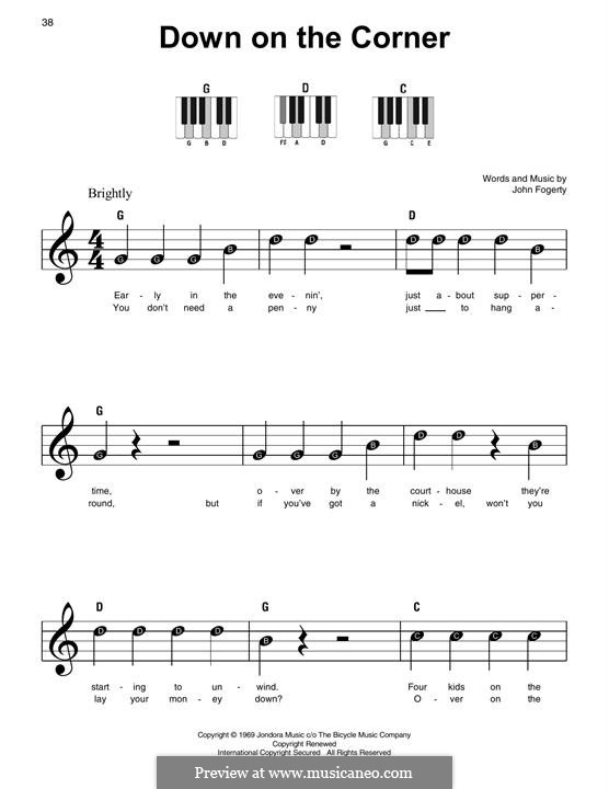 Down on the Corner (Creedence Clearwater Revival): For piano by John C. Fogerty