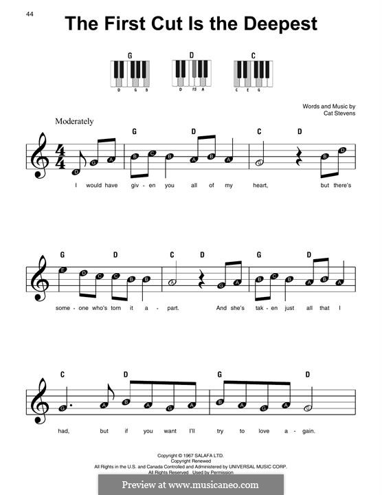The First Cut Is the Deepest: For piano by Cat Stevens
