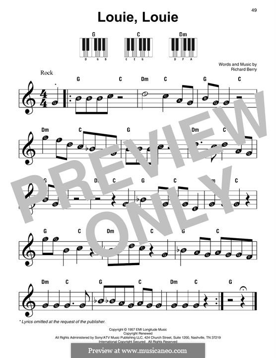 Louie, Louie (The Kingsmen): For piano by Richard Berry