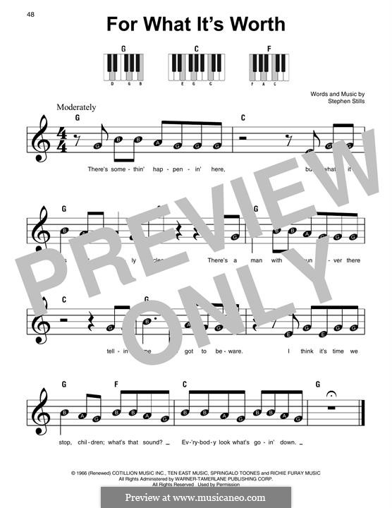 For What It's Worth (Buffalo Springfield): For piano by Stephen Stills