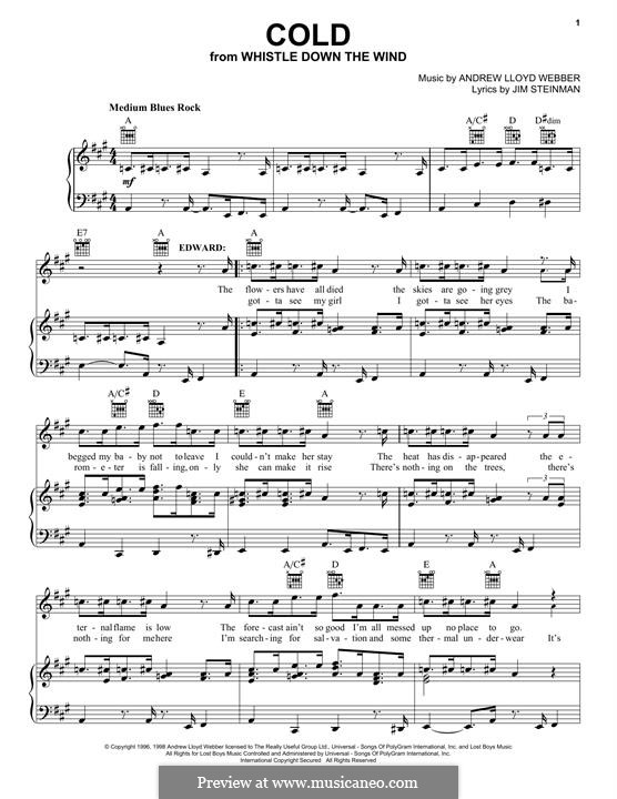 Cold: For voice and piano (or guitar) by Andrew Lloyd Webber