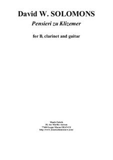 Pensieri zu Klizemer: For Bb clarinet and guitar by David W Solomons