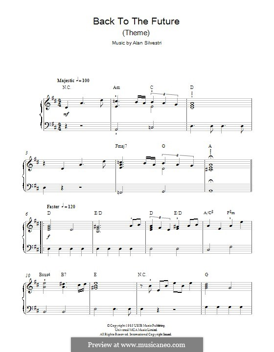 Back to the Future (Theme): For piano by Alan Silvestri