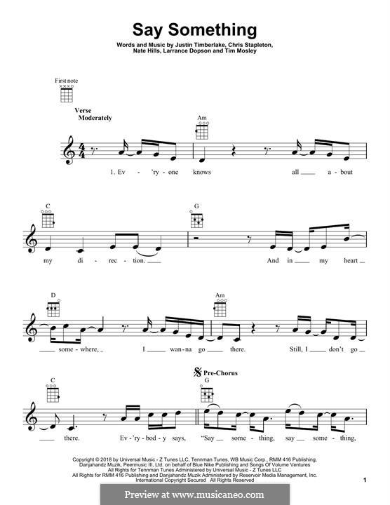 Say Something (feat. Chris Stapleton): For ukulele by Chris Stapleton, Justin Timberlake, Floyd Nathaniel Hills, Timbaland, Larrance Dopson