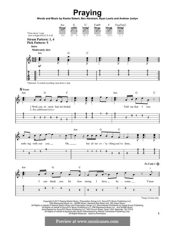 Praying (Kesha): For guitar with tab by Kesha Sebert, Ryan Lewis, Ben Abraham