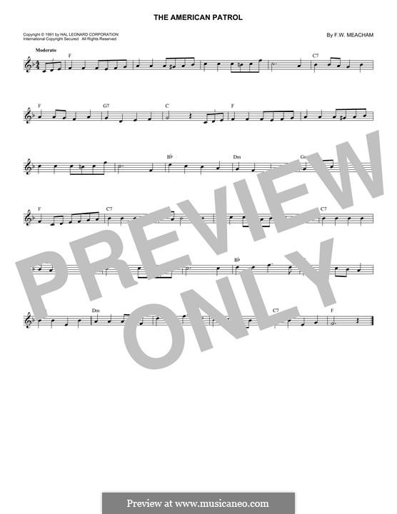 American Patrol, Op.92: Melody line by Frank W. Meacham