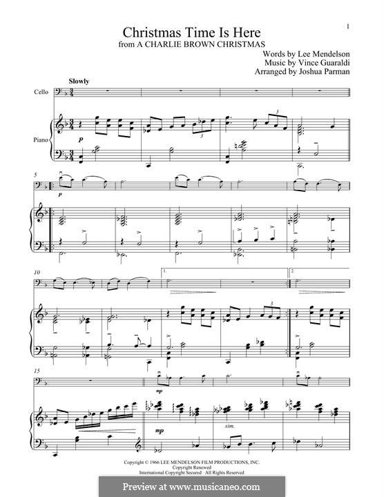 Christmas Time is Here: For cello and piano by Vince Guaraldi