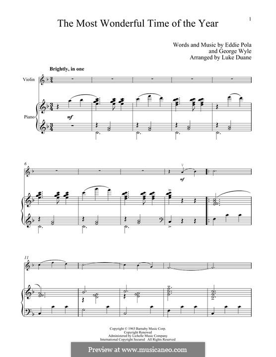 The Most Wonderful Time of the Year: For violin and piano by George Wyle, Edward Pola