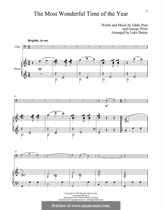 The Most Wonderful Time of the Year: For cello and piano by George Wyle, Edward Pola