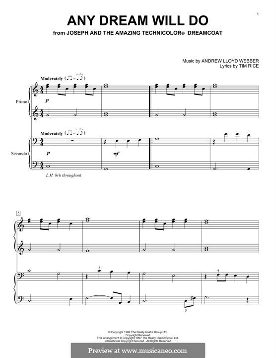 Any Dream Will Do: For piano by Andrew Lloyd Webber