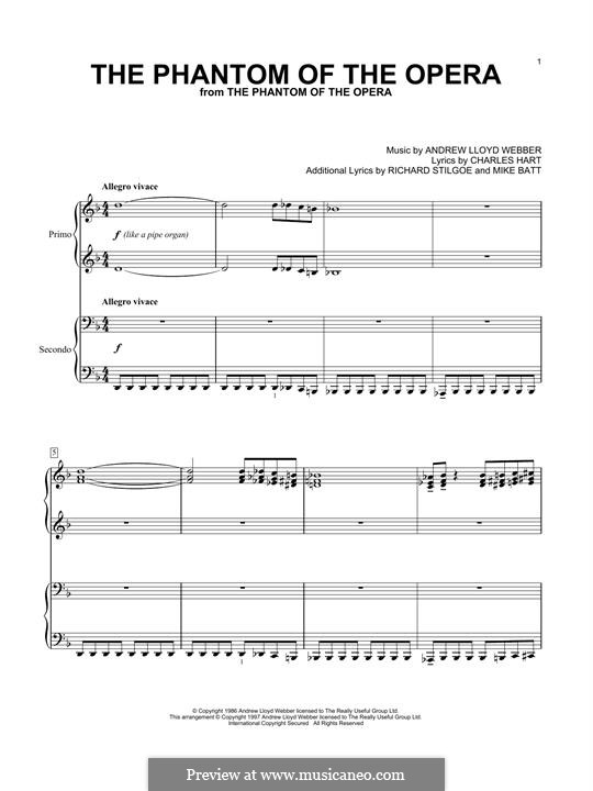 The Phantom of the Opera: For piano by Andrew Lloyd Webber