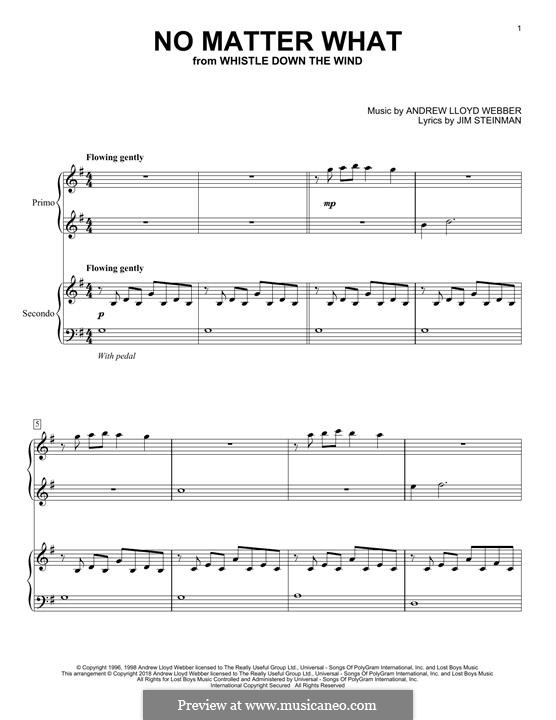 No Matter What (from Whistle Down the Wind): For piano by Andrew Lloyd Webber