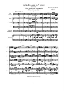 Concerto for Violin, Strings and Basso Continuo No.1 in A Minor, BWV 1041: Score, parts by Johann Sebastian Bach