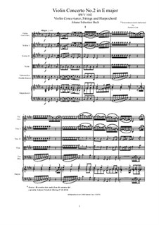 Concerto for Violin, Strings and Basso Continuo No.2 in E Major, BWV 1042: Score, parts by Johann Sebastian Bach