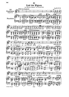 No.3 Song of Mignon: For low voice and piano by Franz Schubert