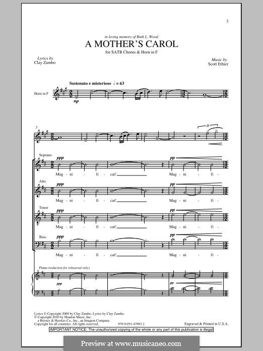 A Mother's Carol: For mixed choir by Scott Ethier