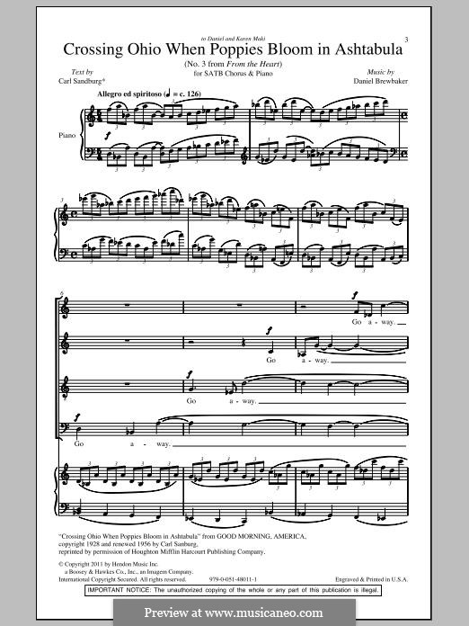 Crossing Ohio When Poppies Bloom in Ashtabula (No.3 from 'From the Heart'): For mixed choir by Daniel Brewbaker